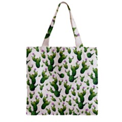 Cactus Pattern Zipper Grocery Tote Bag