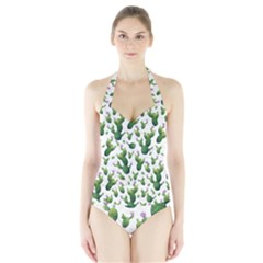 Cactus Pattern Halter Swimsuit