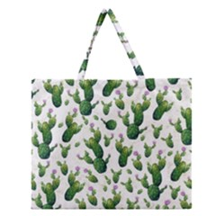 Cactus Pattern Zipper Large Tote Bag