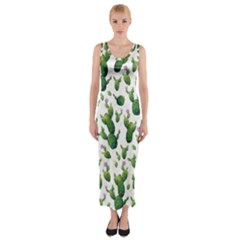 Cactus Pattern Fitted Maxi Dress