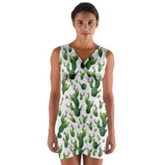 Cactus Pattern Wrap Front Bodycon Dress