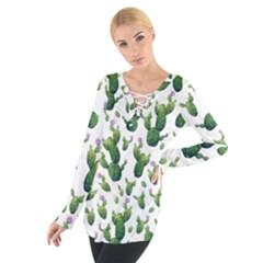 Cactus Pattern Tie Up Tee
