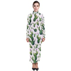 Cactus Pattern Turtleneck Maxi Dress