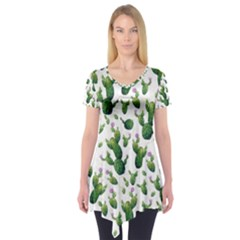 Cactus Pattern Short Sleeve Tunic