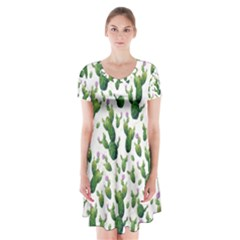 Cactus Pattern Short Sleeve V Neck Flare Dress