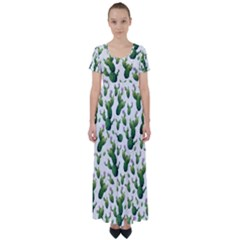 Cactus Pattern High Waist Short Sleeve Maxi Dress