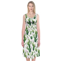 Cactus Pattern Midi Sleeveless Dress