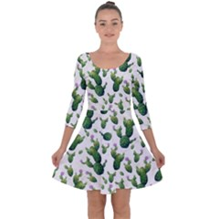 Cactus Pattern Quarter Sleeve Skater Dress