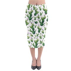 Cactus Pattern Midi Pencil Skirt