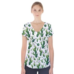 Cactus Pattern Short Sleeve Front Detail Top
