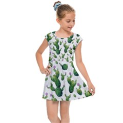 Cactus Pattern Kids Cap Sleeve Dress