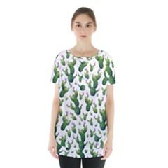 Cactus Pattern Skirt Hem Sports Top