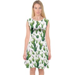 Cactus Pattern Capsleeve Midi Dress