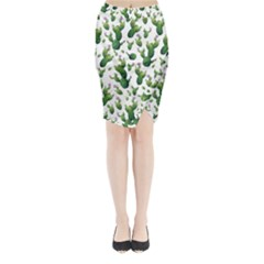 Cactus Pattern Midi Wrap Pencil Skirt
