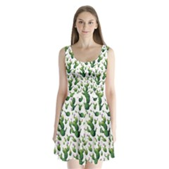 Cactus Pattern Split Back Mini Dress