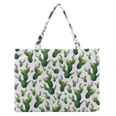 Cactus Pattern Zipper Medium Tote Bag