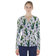 Cactus Pattern V Neck Long Sleeve Top