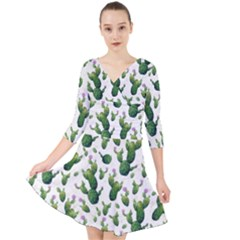 Cactus Pattern Quarter Sleeve Front Wrap Dress