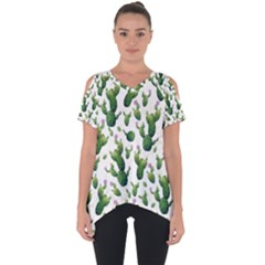 Cactus Pattern Cut Out Side Drop Tee