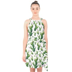Cactus Pattern Halter Collar Waist Tie Chiffon Dress