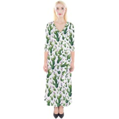 Cactus Pattern Quarter Sleeve Wrap Maxi Dress