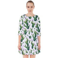 Cactus Pattern Smock Dress