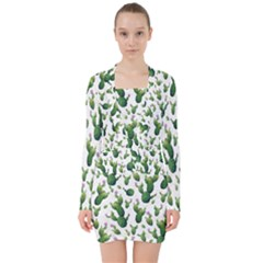 Cactus Pattern V Neck Bodycon Long Sleeve Dress