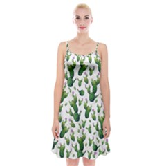 Cactus Pattern Spaghetti Strap Velvet Dress