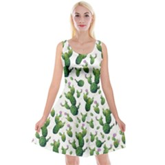 Cactus Pattern Reversible Velvet Sleeveless Dress