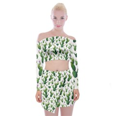 Cactus Pattern Off Shoulder Top With Mini Skirt Set