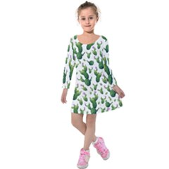 Cactus Pattern Kids  Long Sleeve Velvet Dress