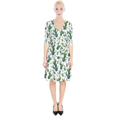 Cactus Pattern Wrap Up Cocktail Dress