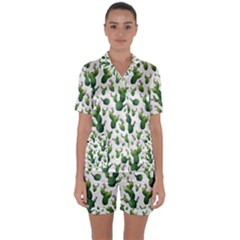 Cactus Pattern Satin Short Sleeve Pyjamas Set