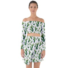 Cactus Pattern Off Shoulder Top With Skirt Set