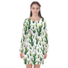 Cactus Pattern Long Sleeve Chiffon Shift Dress
