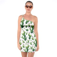 Cactus Pattern One Soulder Bodycon Dress