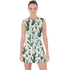 Cactus Pattern Lace Up Front Bodycon Dress
