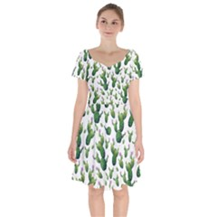 Cactus Pattern Short Sleeve Bardot Dress