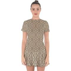 Modern Baroque Pattern Drop Hem Mini Chiffon Dress