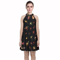 Fireworks Christmas Night Dark Velvet Halter Neckline Dress  by Sapixe