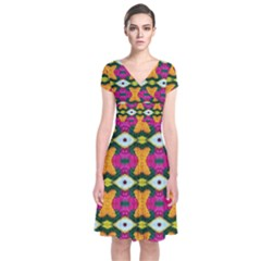 Artwork By Patrick Colorful 2 3 Short Sleeve Front Wrap Dress