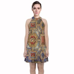 Church Ceiling Box Ceiling Painted Velvet Halter Neckline Dress  by Sapixe