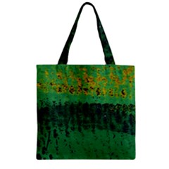 Green Fabric Textile Macro Detail Zipper Grocery Tote Bag by Sapixe