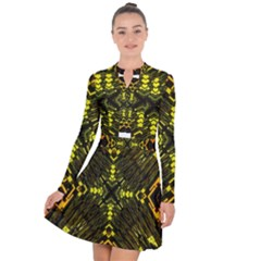 Abstract Glow Kaleidoscopic Light Long Sleeve Panel Dress
