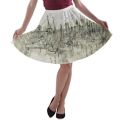 Pencil Drawing Drawing Port A Line Skater Skirt