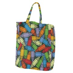 Colored Pencils Pens Paint Color Giant Grocery Tote by Sapixe