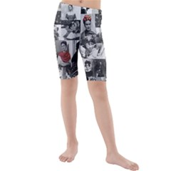 Frida Kahlo Pattern Kids  Mid Length Swim Shorts