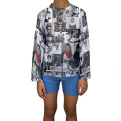 Frida Kahlo Pattern Kids  Long Sleeve Swimwear