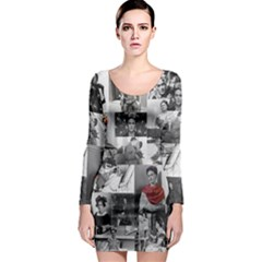 Frida Kahlo Pattern Long Sleeve Bodycon Dress