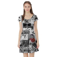 Frida Kahlo Pattern Short Sleeve Skater Dress